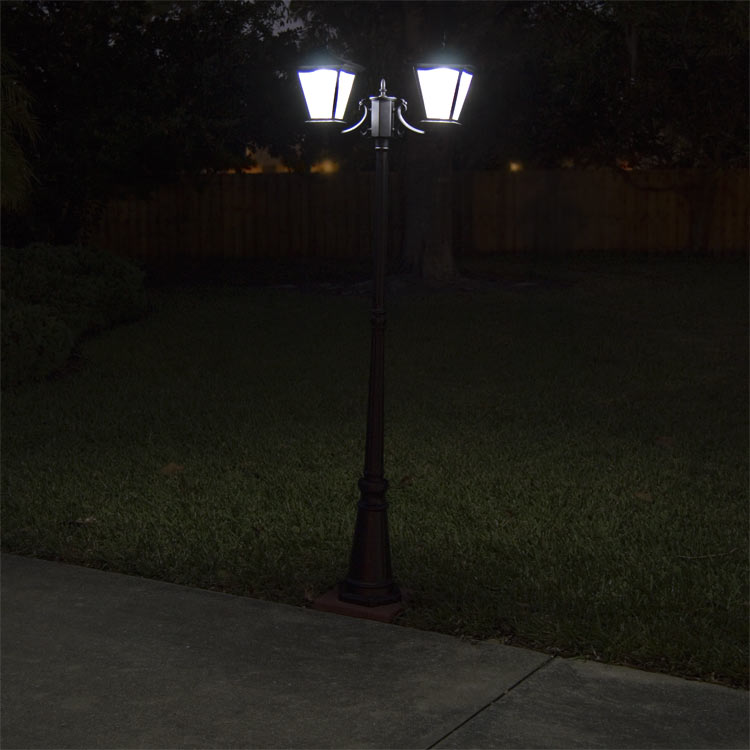 light galaxy black 2 head solar light for courtyard and driveway. Black Bedroom Furniture Sets. Home Design Ideas