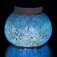MAJORCA Blue Solar table light. Get creative with this glossy blue deck addition