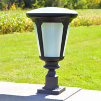 Colonial Post Mount Solar Pillar Light. Rugged entrance column or pillar light