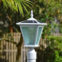 Post Mount Solar Light - GALAXY White. Solar light for entrance pillars, brick columns and electrical posts.