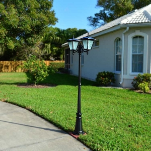 Solar Courtyard Light - GALAXY BLACK. 2 Head Solar Light for Courtyard and Driveway.