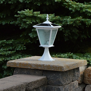GALAXY White Column Mount Solar Light.  Great Solar Light for capped Entrance Pillars and capped Brick Columns