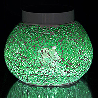 SHAMROCK Green Solar Table Light. Sparkle and shine from this green crackled glass.