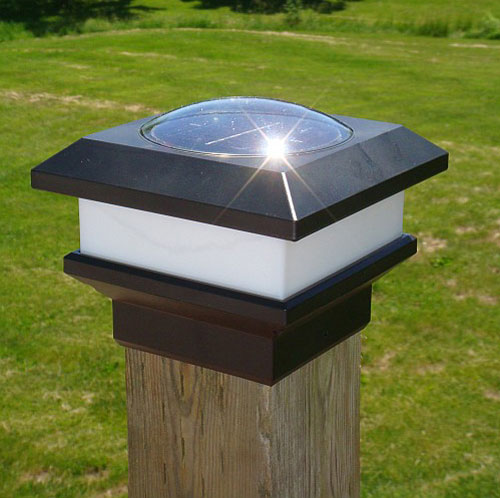"free-light solar light for fence posts 4 x 4"" wide"