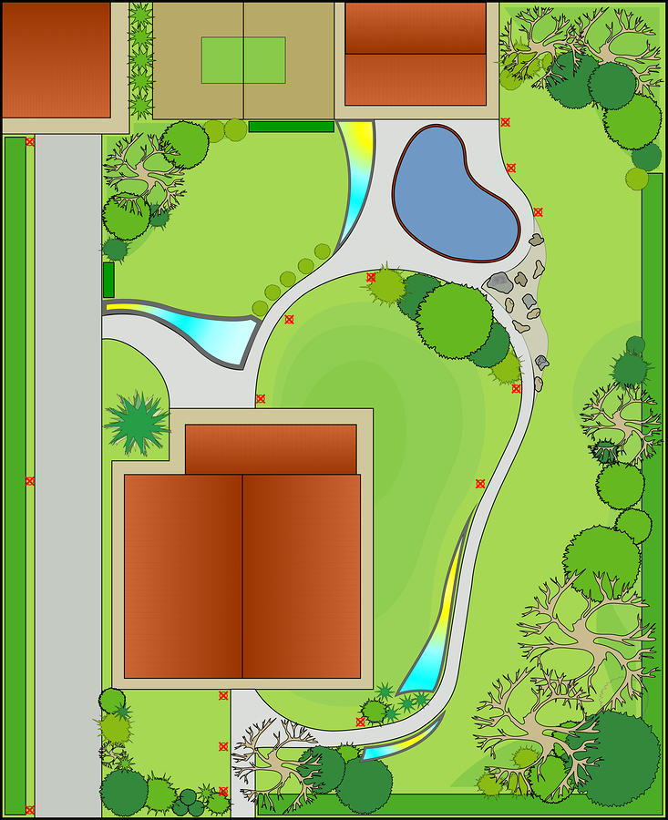 landscape design with free-light solar lighting