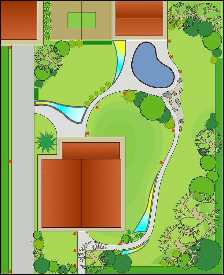 landscape design with free-light solar lighting