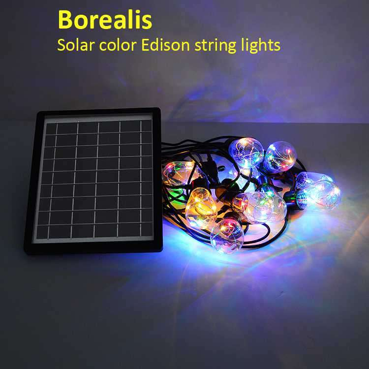 Borealis Party Solar String Lights. Let The Party Begin. 12 Bulbs. 2 Intensity Settings.