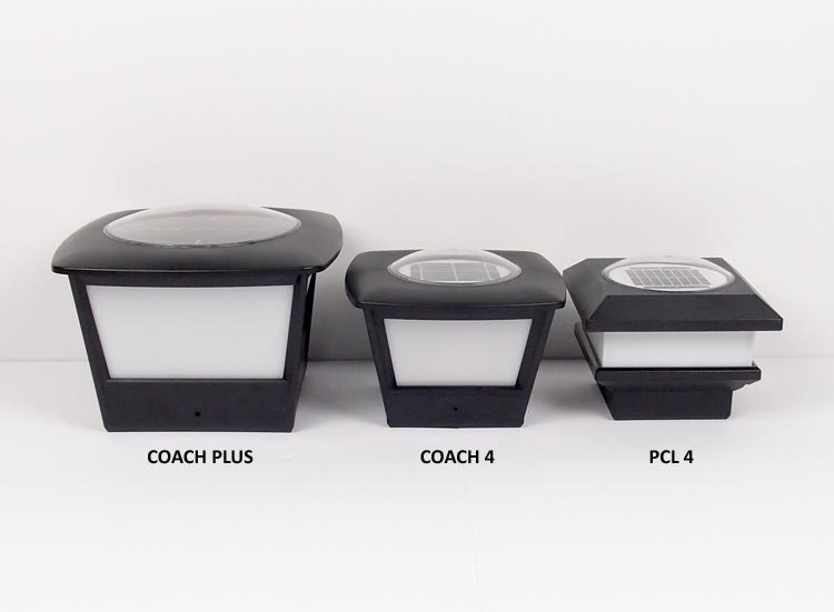 Coach Style Solar Lights for Fence Posts and Rails