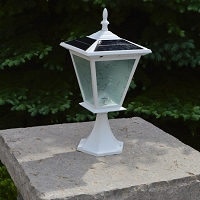 GALAXY White Column Mount Solar Light. Lots of Solar Light from a Very Small Footprint.