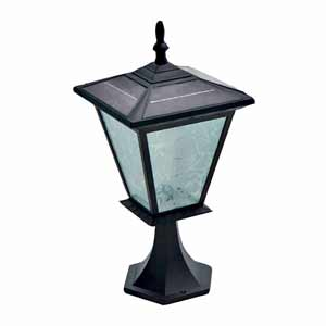 GALAXY Column Mount Solar Light - Black. Great Solar Light for capped Entrance Pillars and capped Brick Columns