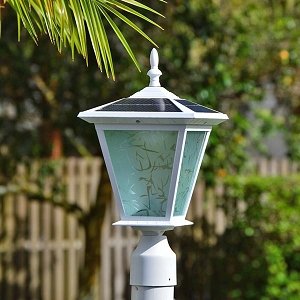 GALAXY White Post Mount Solar Light for Entrance Pillars, Brick Columns and Electrical Posts.