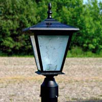GALAXY Black Post Mount Solar Light. Great solar light for entrance pillars and brick columns.
