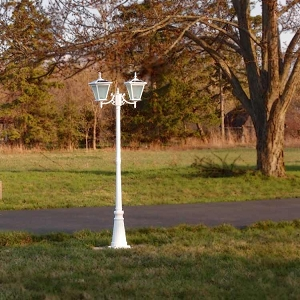 Solar Courtyard Light - GALAXY WHITE. 2 Head Solar Light for Courtyard and Driveway.