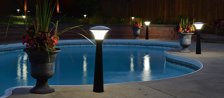 Tall Solar Lights Around Pool