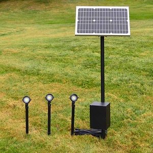 RSP Remote Solar Panel Lighting system. 3 lights that can be up to 50' apart, great for tree lighting, wall washing.