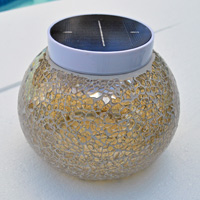 VEGAS Champagne Solar Table Light. Add bright champagne solar lights to your outdoor decor.