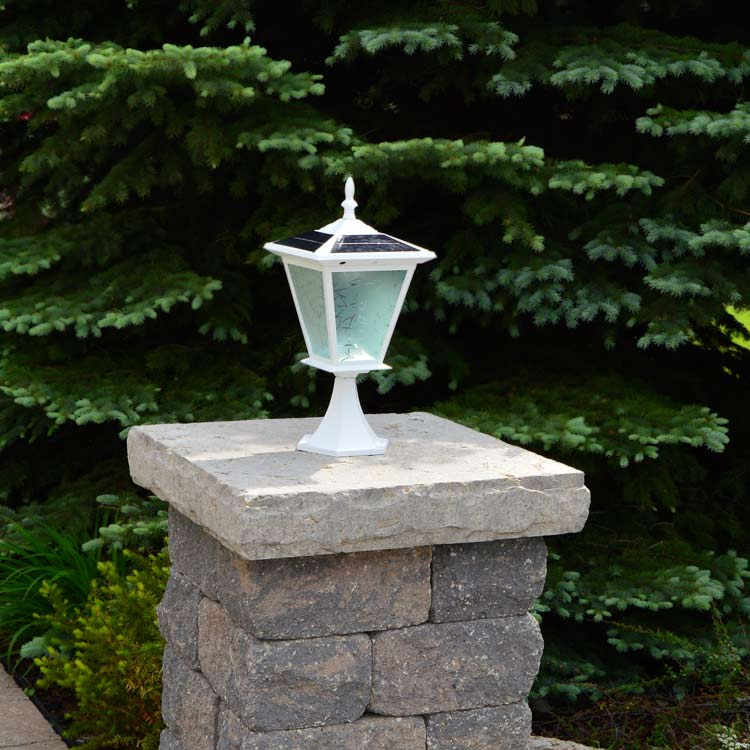 White Column mounted solar light