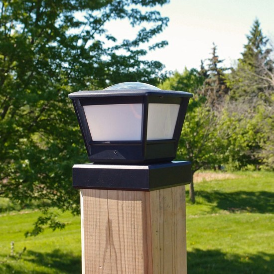 NEW Post Cap Solar Light on 4x4 Wood Post