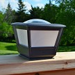 Flat Rail Solar Lights for Garden, Deck and Patio. Mounts on the 6x6 wood flat cap rail on fences, decks and patios