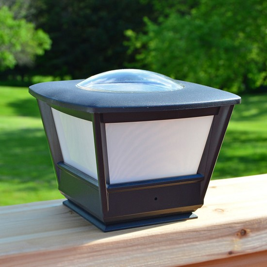 Flat Rail Solar Lights for Garden, Deck and Patio. Perfect fit on 6x6 wood top cap rails on decks and patios