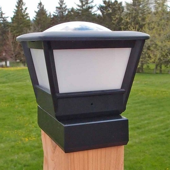 "4x6"" Wood Fence Post Solar Light. Solar Post Cap Light"