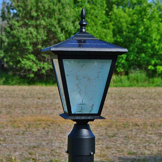 GALAXY Black - Post Mount Solar Light. Great solar light for entrance pillars and brick columns.