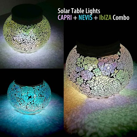 CAPRI NEVIS IBIZA Combo Solar Table Lights - CAPRI White & NEVIS Blue & IBIZA Green. 1 of Each