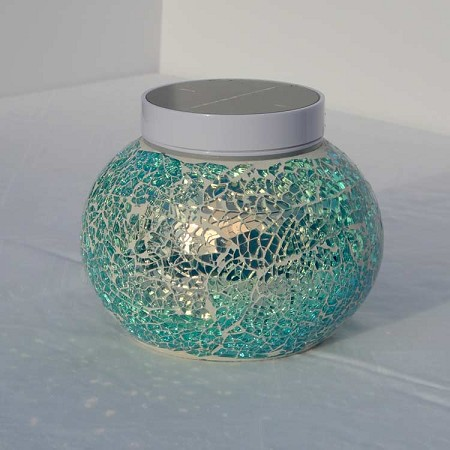 NEVIS Solar Table Light - NEVIS Blue. Night Time Blue Sparkle Around Your Patio.